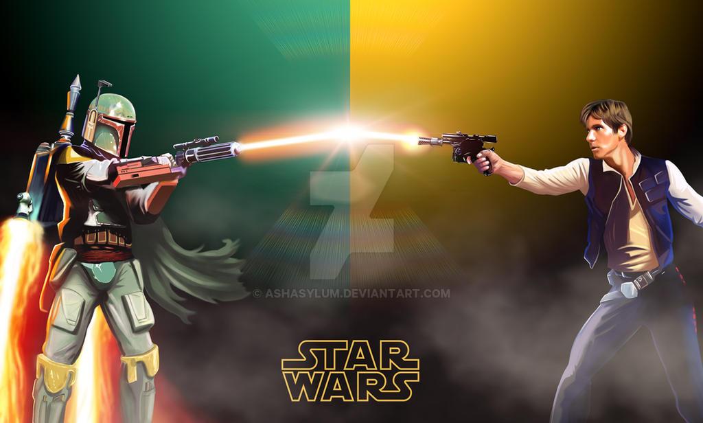 Han Solo Vs Fett by ashasylum