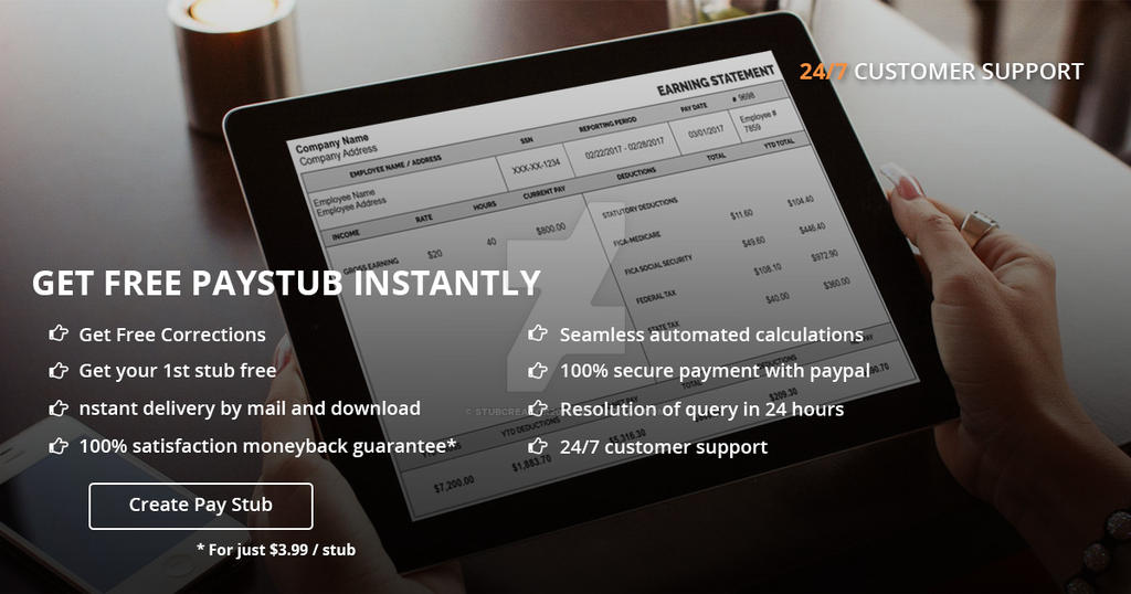 get free online pay stub generator by stubcreator by
