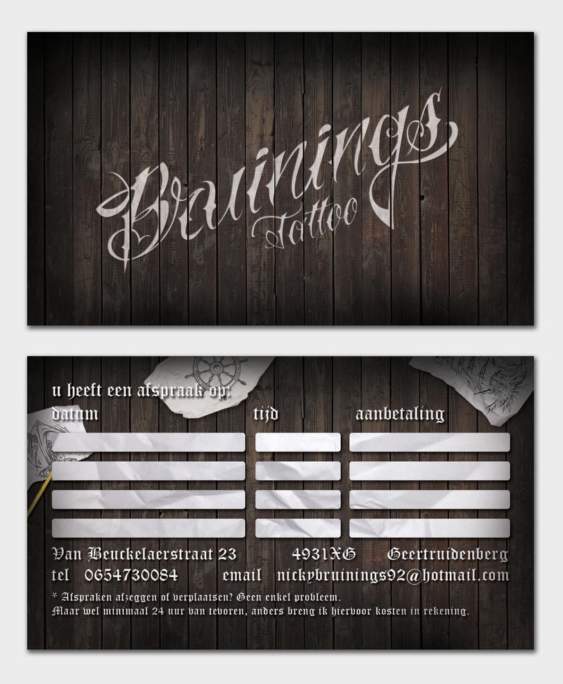 Bruinings tattoo business card design 2 by thomiethink on for Business card size tattoos