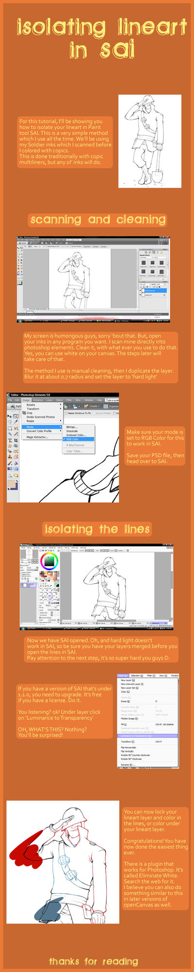 Isolating lineart in SAI by dust-bite