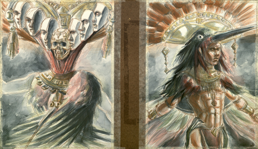 Aztec God and Warrior WIP 2 by GoddessNemesis