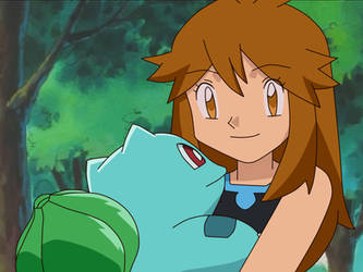 Pokemon OS fake picture - Green and Bulbasaur by Aquamimi123
