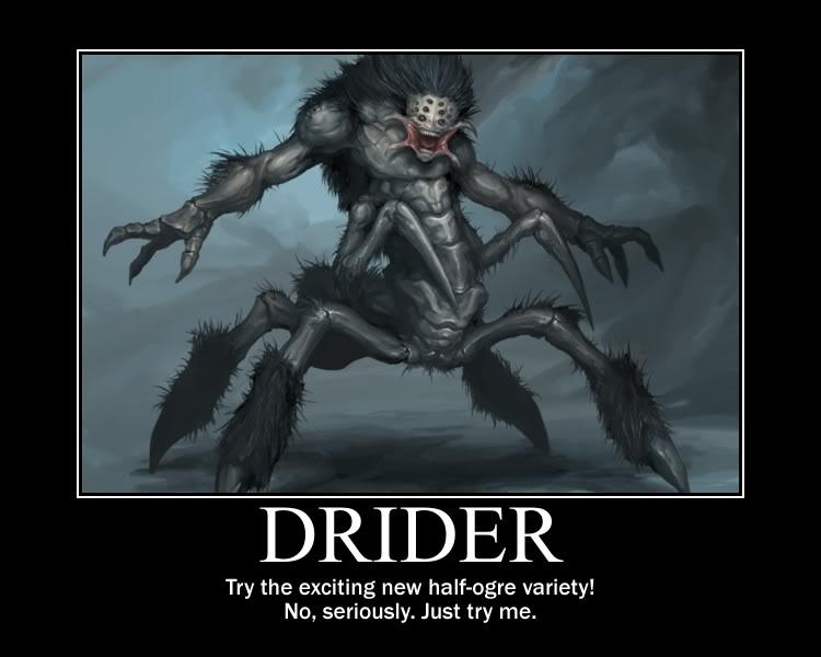 Drider player race. Also includes half spider template.