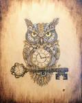Clockwork Owl Woodburning