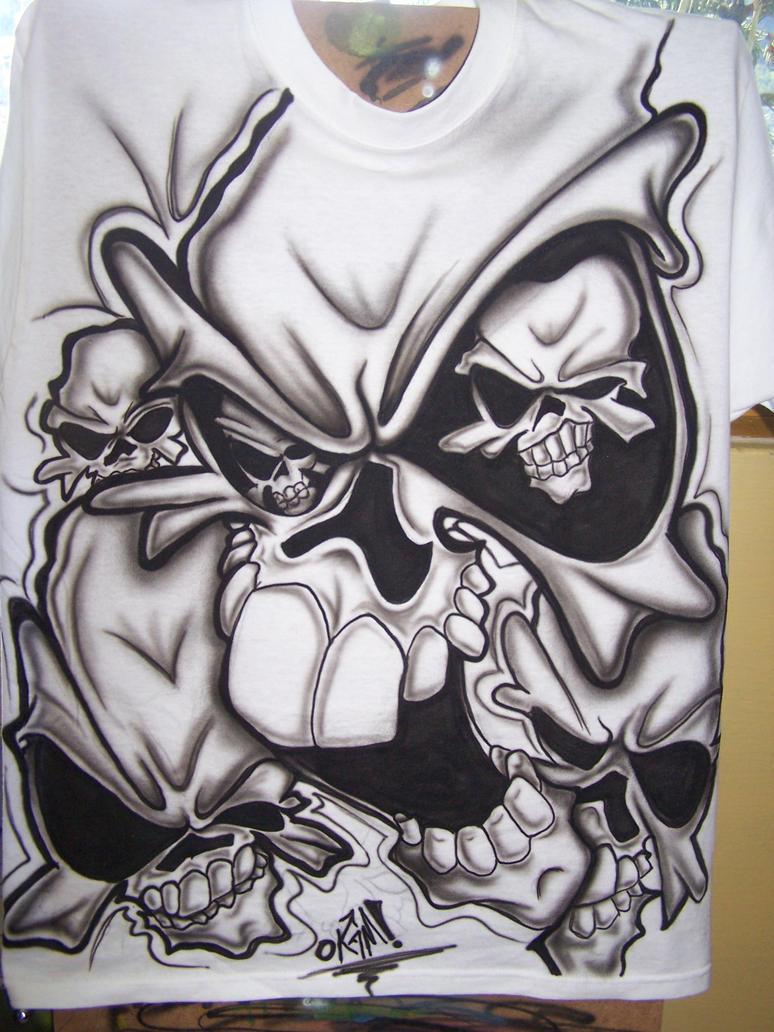 Skull T Shirt Airbrush By Okamiairbrush On Deviantart