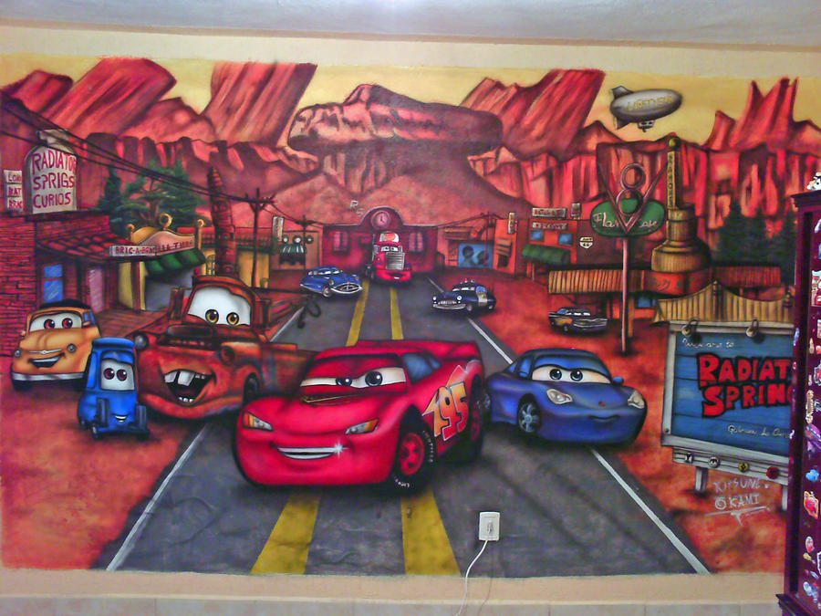 cars mural airbrush by okamiairbrush on deviantart