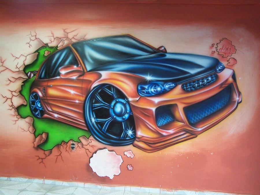 Car mural okami airbrush by okamiairbrush on deviantart for Airbrush car mural