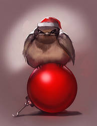 Grumpy Christmas bird by juliedillon