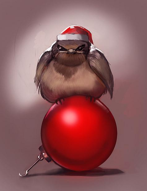 Grumpy Christmas bird by juliedillon on DeviantArt