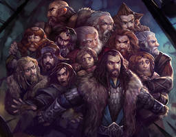 A whole bunch of dwarves (and a hobbit) by juliedillon