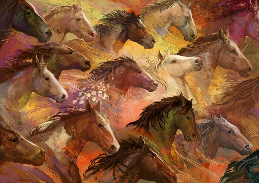Running Horses by juliedillon