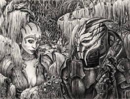 Samara and Nihlus - The Hunt by efleck