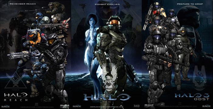 Halo Fan Art Triptych: Reach, Halo, ODST by rs2studios
