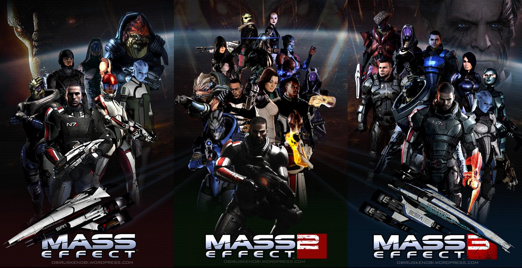 Mass Effect Trilogy Fan Art Triptych by rs2studios