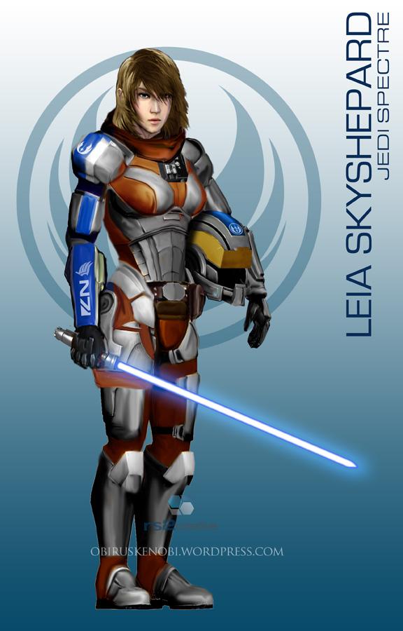 StarWars MassEffect Crossover Leia Skyshepard by rs2studios
