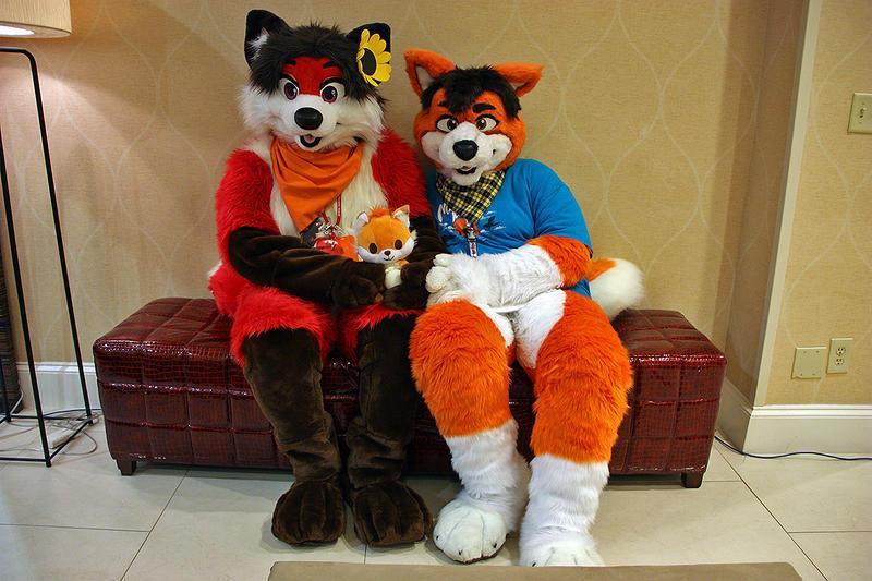 Happy Foxy Family by PudgeyRedFox