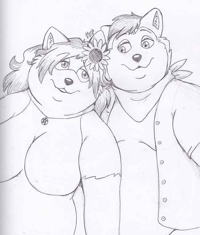 Foxy and Husky by PudgeyRedFox