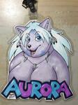Aurora the Wolf conbadge by PudgeyRedFox