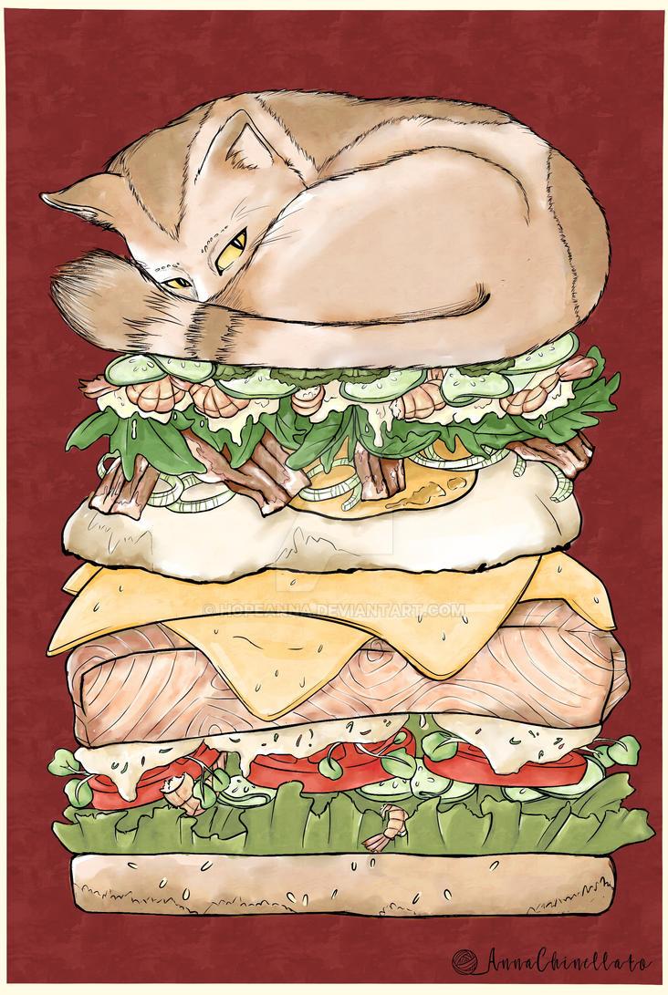 Burger Cat by hopeanna