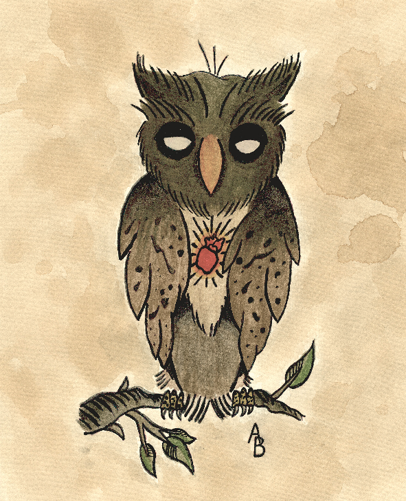 Traditional Owl Tattoo Flash