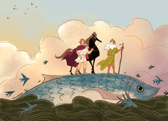 Alexander the Great on a Giant Fish by reimena