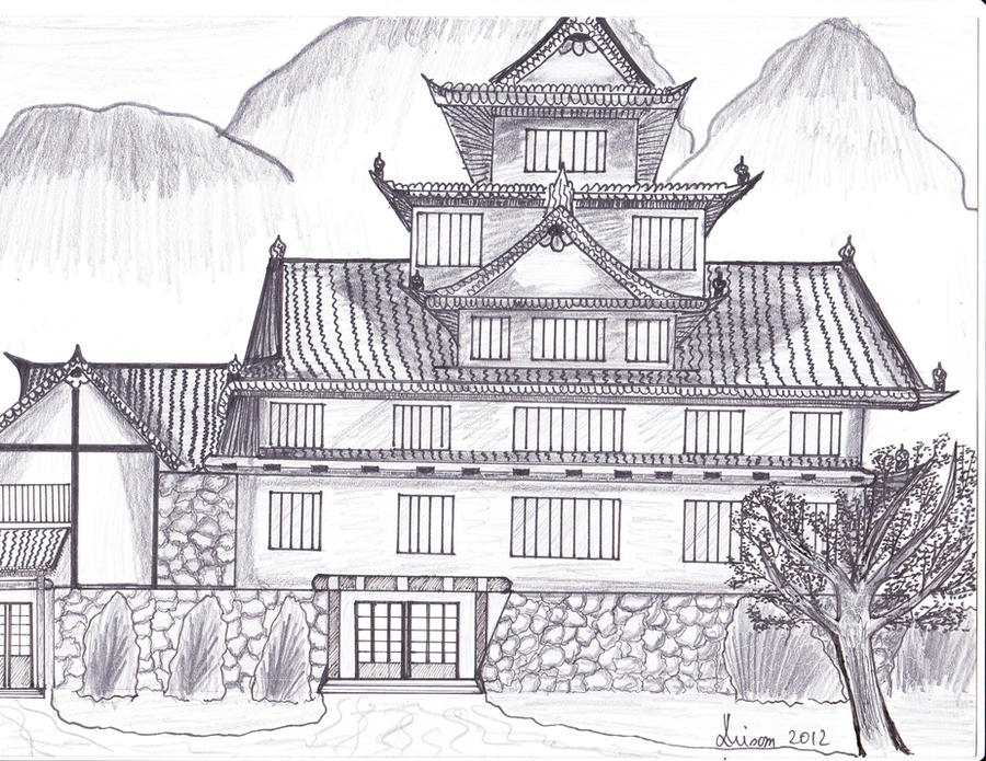 japanese castle drawing by lianavisan