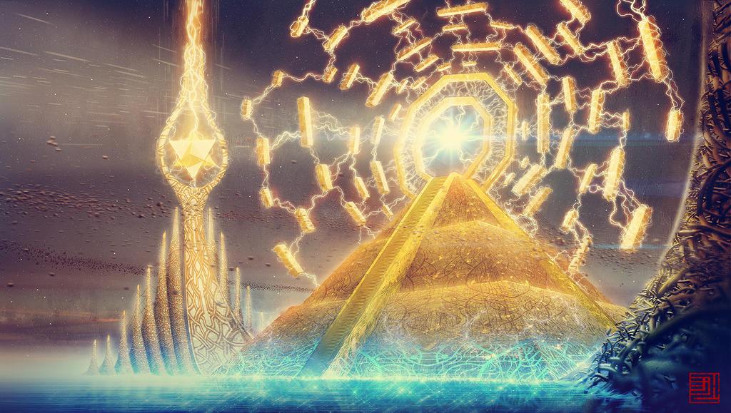 """[EVENTO DECISIVO] """"Secretos bajo máscaras"""" [Eonburg, 1 de Enero - 898 d.G] - Página 2 Golden_pyramid_and_the_eternity_gate_by_julian_faylona-d7evbjz"""