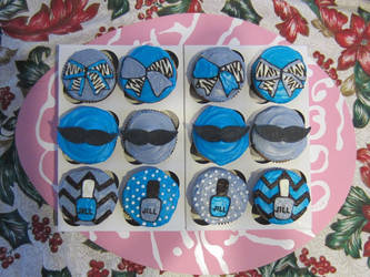 Cheer Bow, Mustache and Nail Polish Cupcakes