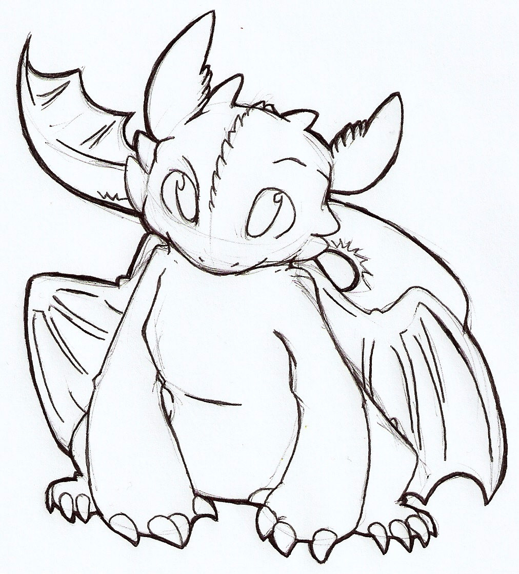 Toothless lineart by Komoroshi on DeviantArt
