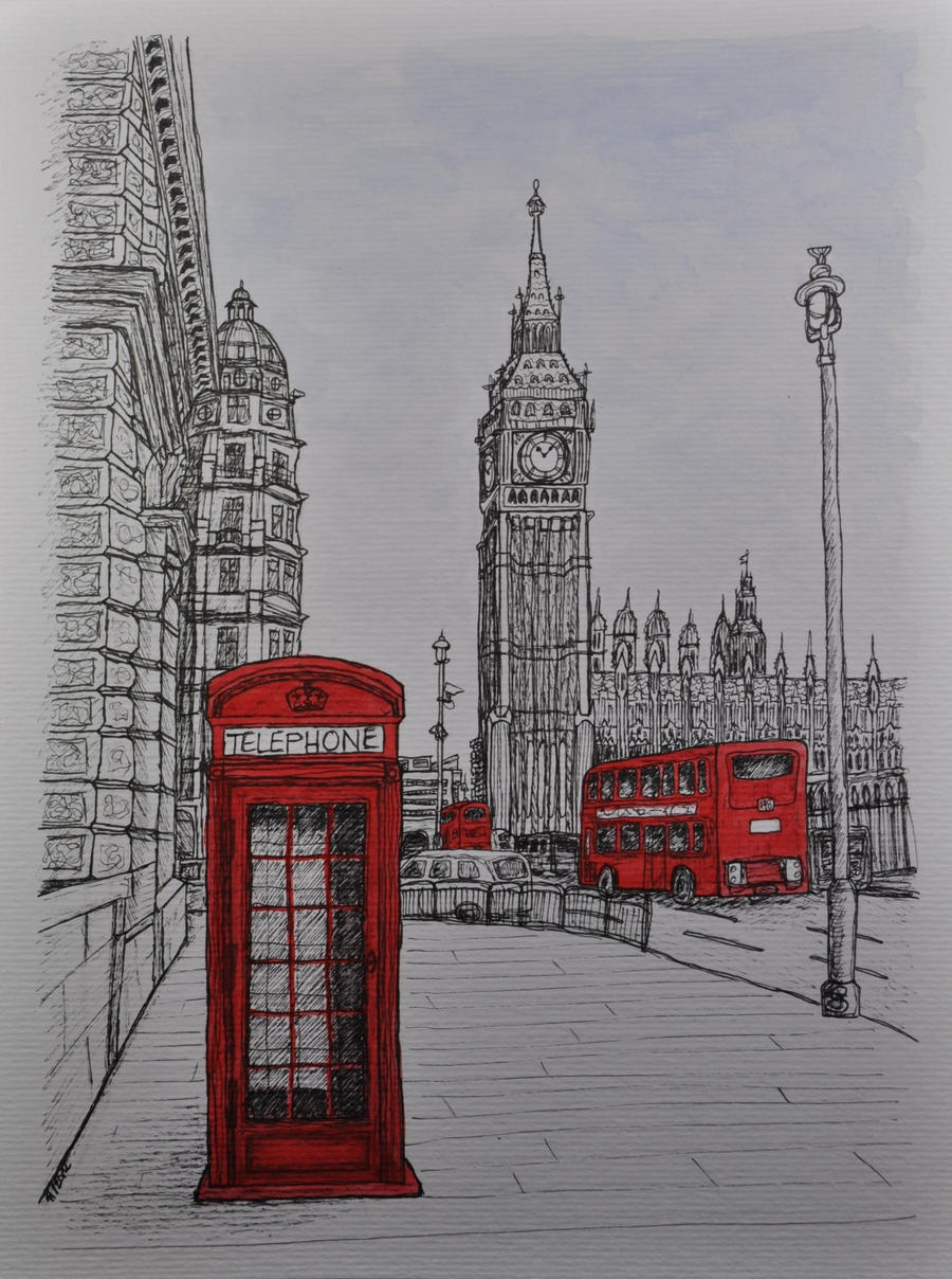 Westminster London - Pigment Liner and Watercolor by ...