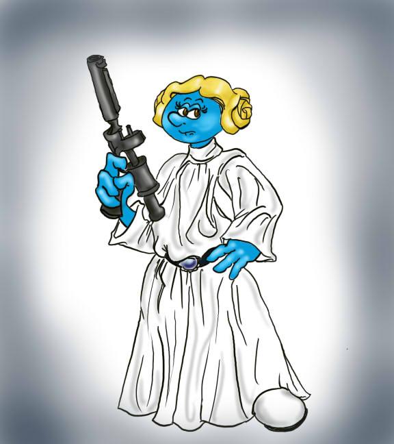 Princess Leia Smurfed by originalceenote