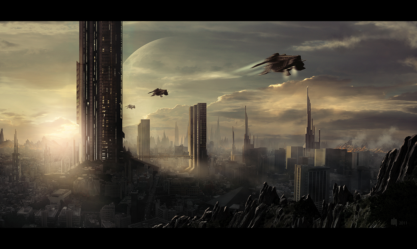 Space city by 6rhill on deviantart for Space matte painting