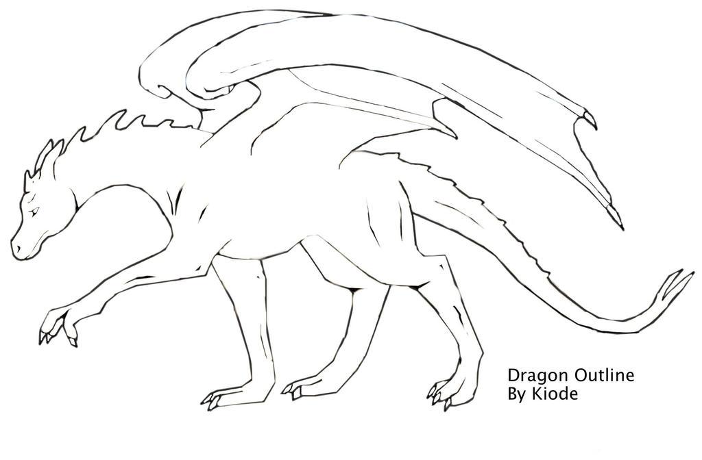 dragon outline by kiode on deviantart - Dragon Outline