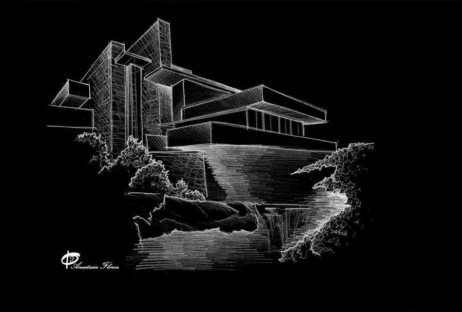 Falling Water Sketch by CiaSalonica