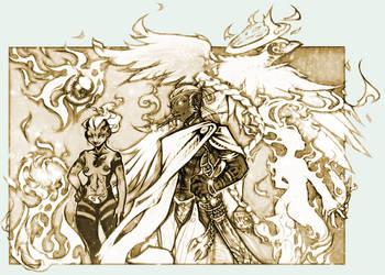 Gods + Elementals: Fire group by kiyo