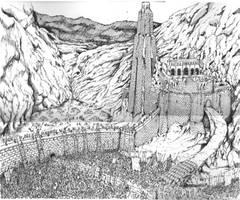battle of Helms Deep by BROKENHILL