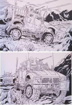 2 M-ATV Drawings Military trucks in combat