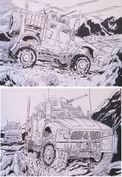 2 M-ATV Drawings Military trucks in combat