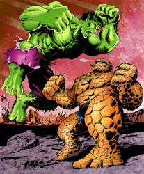 Thing vs Hulk color by Loston