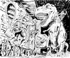 TMNT,  2 T-REX's and a Sewer