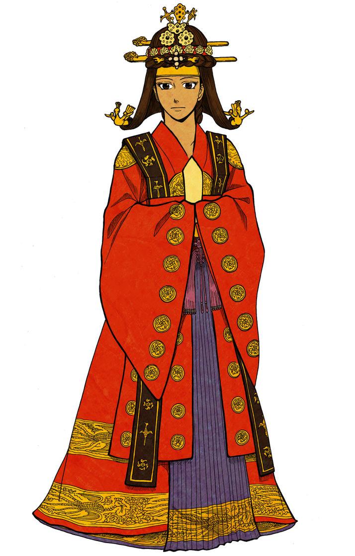 Queen Clip Art in Red Dress