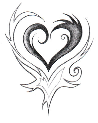 Drawings Of Tribal Hearts Tribal Heart by Guilla...