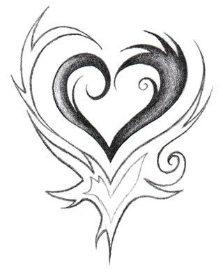 Drawings Of Tribal Hearts easy tribal heart drawings