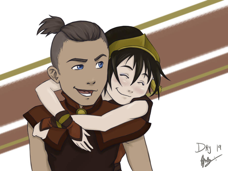 Day 19 - Sokka and Toph by Kameia