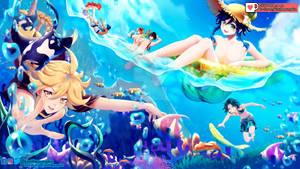 Summer beach fanart Genshin Impact
