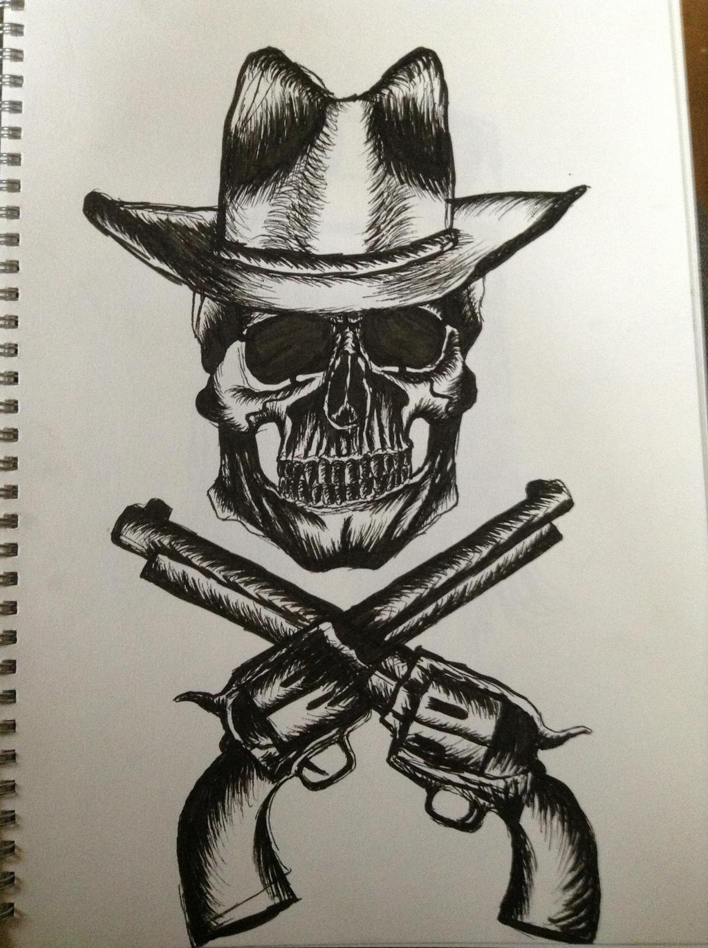 Skeleton Cowboy Drawin...
