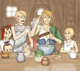 Link is baking a cake
