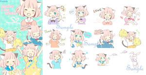 Cat ear girl Necoco of LINE sticker!