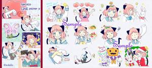 Cat ear girl Necoco part 3 of LINE sticker!