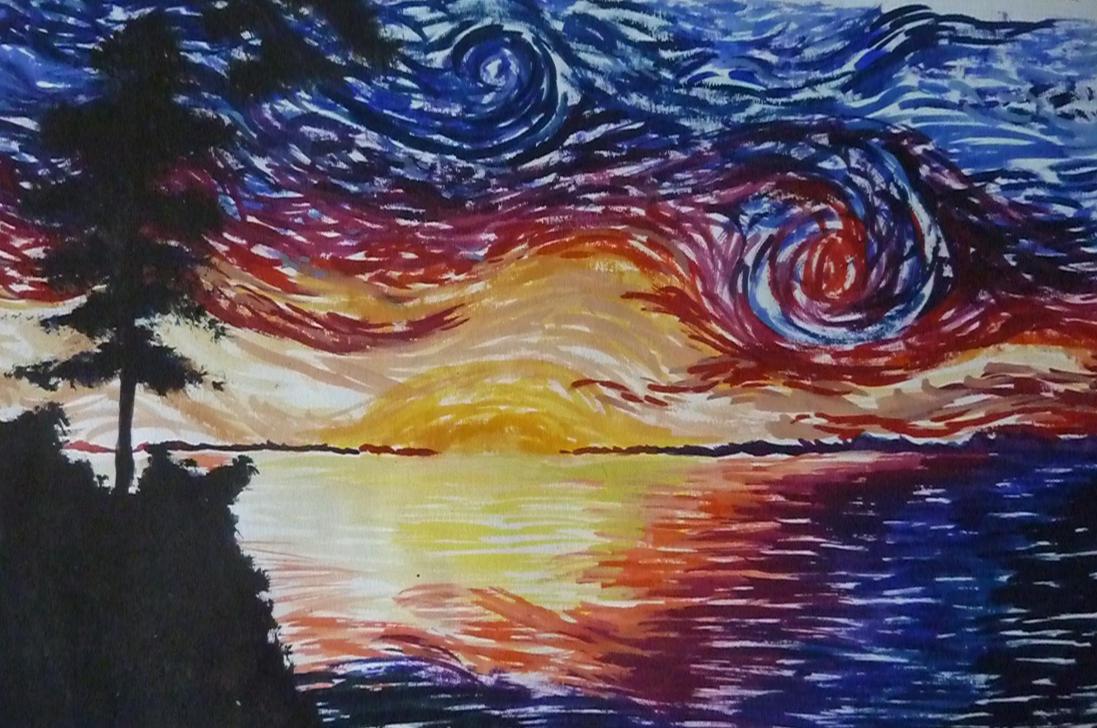sunset van gogh style by darkgamer72 on deviantart